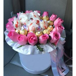 коробка роз с ферерро роше