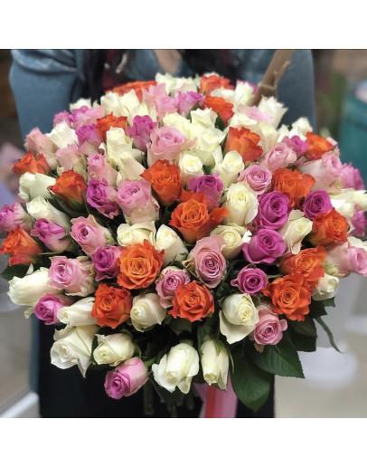 Яркие розы 101 шт.